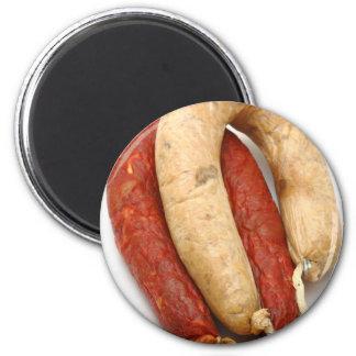 Portuguese typical sausages 6 cm round magnet