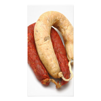 Portuguese typical sausages custom photo card