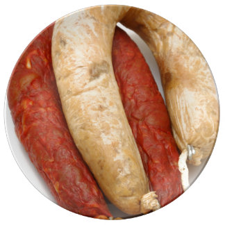 Portuguese typical sausages porcelain plate
