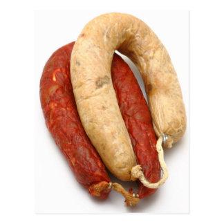 Portuguese typical sausages postcard