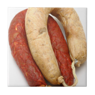 Portuguese typical sausages small square tile