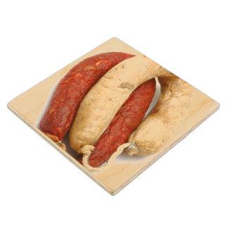 Portuguese typical sausages wood coaster