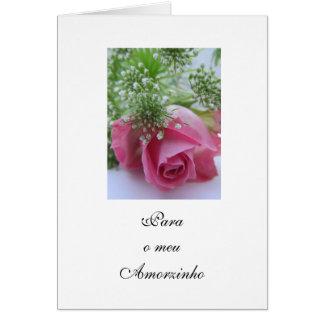 Portuguese: Valentine's Day/ Rosa/Dia São Valentim Greeting Card