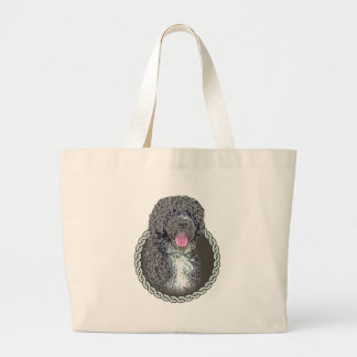 Portuguese water dog 001 large tote bag