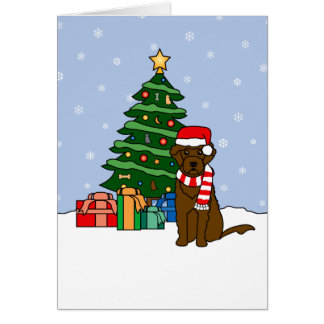 Portuguese Water Dog and Christmas Tree Cards