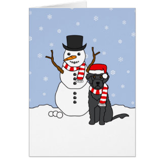 Portuguese Water Dog and Snowman Card