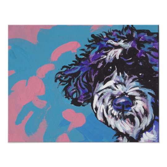 Portuguese Water Dog bright pop art print poster