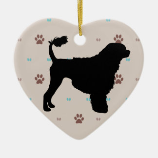 Portuguese Water Dog Ceramic Heart Decoration