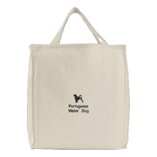Portuguese Water Dog Embroidery Tote Bag