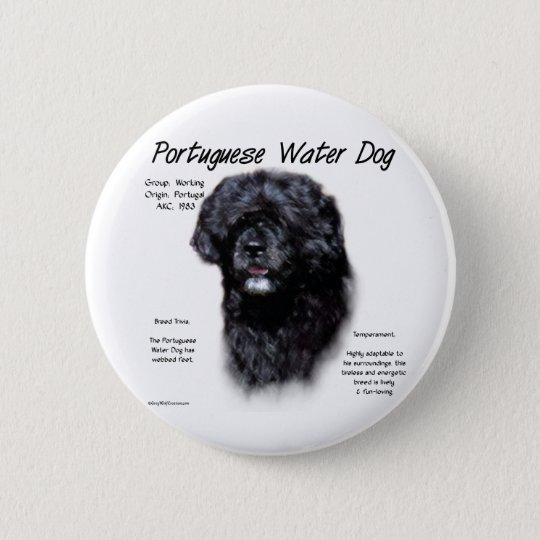 Portuguese Water Dog History Design 6 Cm Round Badge