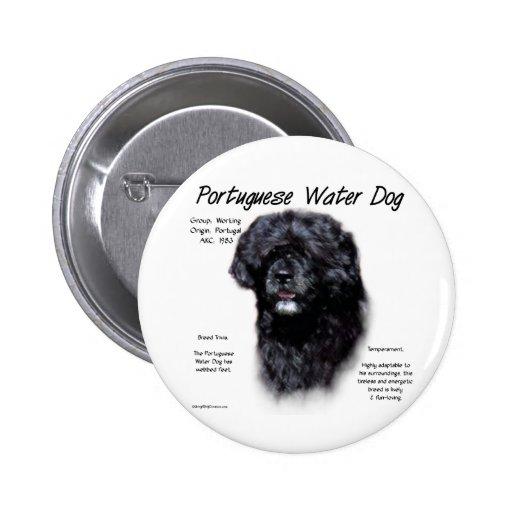 Portuguese Water Dog History Design 6 Cm Round Badge