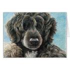 Portuguese Water Dog Original Art Notecard