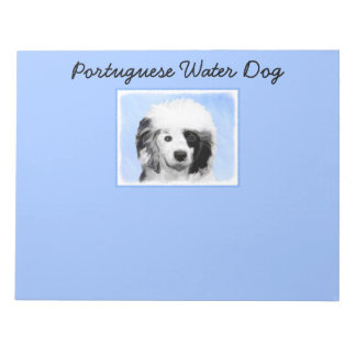 Portuguese Water Dog Painting - Original Dog Art Notepad