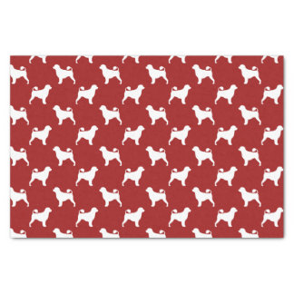Portuguese Water Dog Silhouettes Pattern Red Tissue Paper