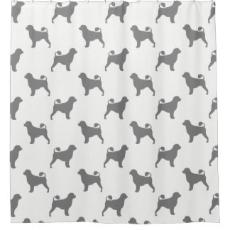 Portuguese Water Dog Silhouettes Pattern Shower Curtain