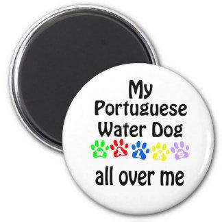 Portuguese Water Dog Walks Design 6 Cm Round Magnet