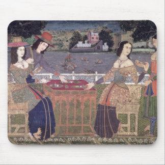 Portuguese women eating a meal, Goa Mouse Mat