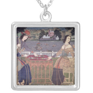 Portuguese women eating a meal, Goa Silver Plated Necklace
