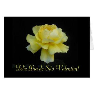Portuguese: Yellow rose- Dia de São Valentim Greeting Card