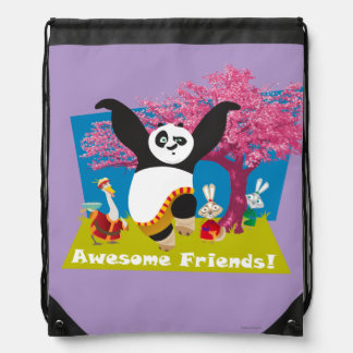 Po's Awesome Friends Drawstring Bag