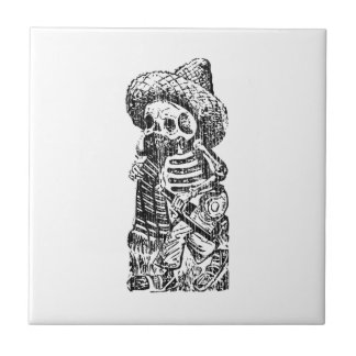 Posada Calavera with Mustache and Tequila Tile