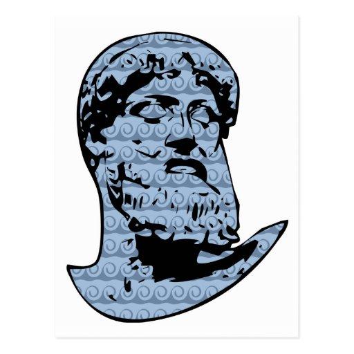 Poseidon statue post card
