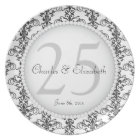 Posh 25th Wedding Anniversary Commemorative Plate