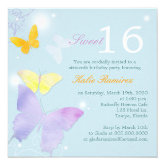Posh Butterfly Pale Blue Sweet 16 Party Invitation