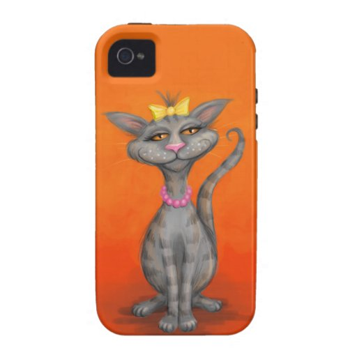 Posh Cat with Pearl Necklace iPhone 4/4S Covers