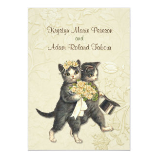 Posh Cats Ivory Wedding Invitation 2