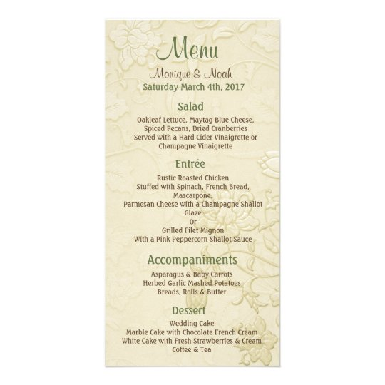 Posh Cats Ivory Wedding Menu Photo Cards