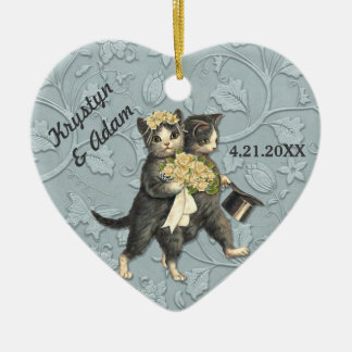 Posh Cats Wedding Blue Ceramic Heart Decoration
