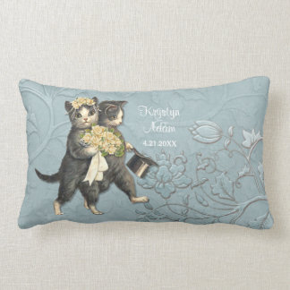 Posh Cats Wedding Blue - Lumbar Pillow