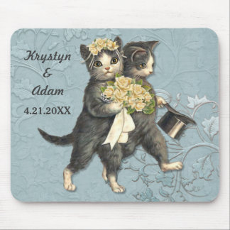 Posh Cats Wedding Blue Mouse Pad