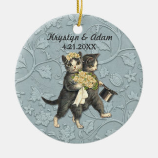 Posh Cats Wedding Blue Round Ceramic Decoration