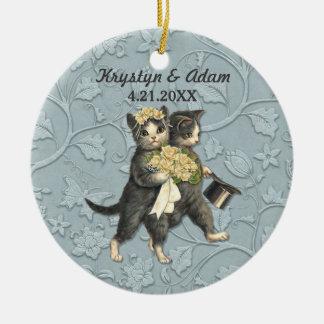 Posh Cats Wedding Blue Round Ceramic Decoration