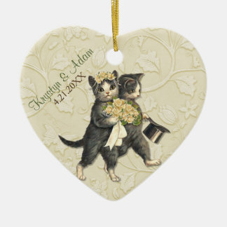 Posh Cats Wedding Ivory Christmas Ornament