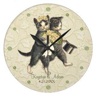 Posh Cats Wedding Ivory Large Clock