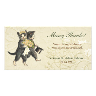Posh Cats Wedding Thank You Card Customized Photo Card