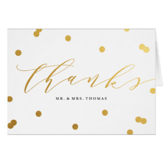 Posh confetti faux foil thank you folded note card