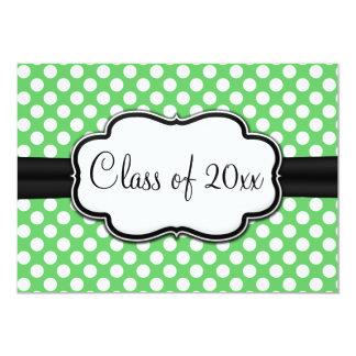 Posh Mint Green Polka Dot Graduation 13 Cm X 18 Cm Invitation Card