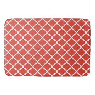 Posh Orange Red Moraccan Quatrefoil Pattern Bath Mat