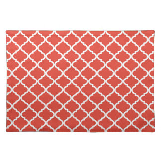 Posh Orange Red Moraccan Quatrefoil Pattern Placemat
