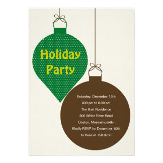 Posh Ornaments Holiday Party Invitation Green Cards