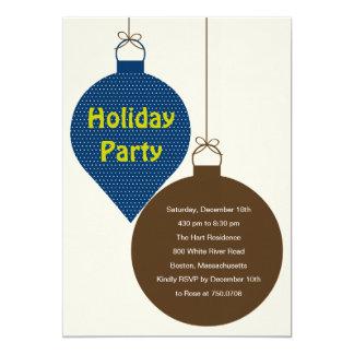 Posh Ornaments Holiday Party Invitation (Navy) Invitations