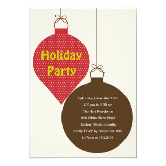 Posh Ornaments Holiday Party Invitation (Red)