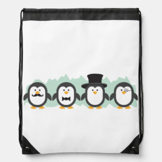 Posh Penguins Drawstring Bag