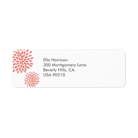 Posh Petals | Coral | Return Address Label