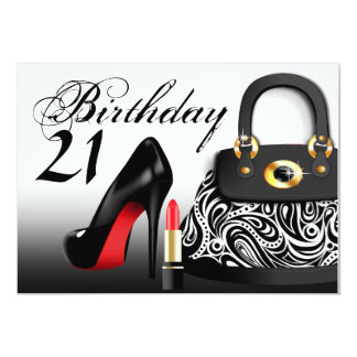 Posh Purse, High Heels and Lipstick 21st Birthday 13 Cm X 18 Cm Invitation Card