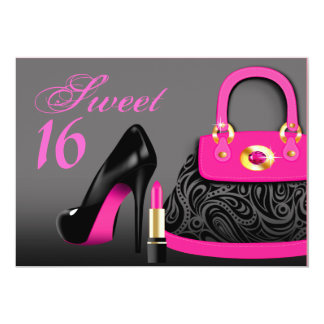 Posh Purse, High Heels and Lipstick Sweet Sixteen 5x7 Paper Invitation Card